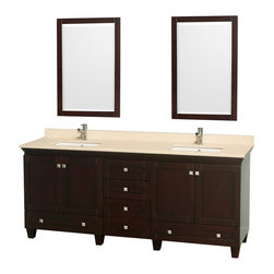 Wyndham Collection - Acclaim Bathroom Vanity in Espresso,Ivory Marble,UM Sq Sink,Mirror - Sublimely linking traditional and modern design aesthetics, and part of the exclusive Wyndham Collection Designer Series by Christopher Grubb, the Acclaim Vanity is at home in almost every bathroom decor. This solid oak vanity blends the simple lines of traditional design with modern elements like square undermount sinks and brushed chrome hardware, resulting in a timeless piece of bathroom furniture. The Acclaim is available with a White Carrera or Ivory marble counter, porcelain sinks, and matching mirrors. Featuring soft close door hinges and drawer glides, you'll never hear a noisy door again! Meticulously finished with brushed chrome hardware, the attention to detail on this beautiful vanity is second to none and is sure to be envy of your friends and neighbors!