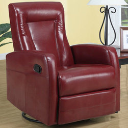Monarch - Red Bonded Leather Swivel Rocker Recliner - This contemporary design accent chair combines 3 functional elements.....it swivels......it rocks.....and it reclines, ensuring that you are always in a comfortable position. This red bonded leather chair with a contoured back and seat was designed for ultimate comfort. Whether reading a book or watching sports this will be the chair that everyone will want to sit on. The easy glide motion and the contemporary design makes it a chic and fashionable addition for your den, bedroom, living room or basement. It truly is a chair for any room in your home.