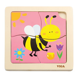The Original Toy Company - The Original Toy Company Kids Children Play Bee 1st Puzzles - These classic four piece puzzles with colorful pieces set into a wooden tray that is imprinted with a puzzle for matching up.
