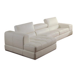 VIG Furniture - 956 White Full Top Grain Italian Leather Sectional Sofa With Adjustable Headrest - The 956 sectional sofa has a stylish modern design with a simple look that works with any decor. This sectional comes fully upholstered in a beautiful white top grain Italian leather. High density foam is placed within the cushions for that extra touch of comfort. The seating area has a subtle tufted design that adds to the overall look. The sectional features adjustable headrests for that extra touch of relaxation.