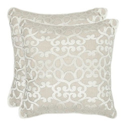 Home Decorators Collection - Madison Pillows - Set of 2 - The elegant scrollwork on our Madison Pillows resembles the beautiful damasks that once hung in Renaissance courts. The scrollwork is further defined and embellished with outline chain stitching. Try them as accent pillows on a regal wingback chair or as toss pillows fit for a royal bedroom. Set of two. Embroidered scrollwork. Solid color back. Hidden zipper closure. Down fill. Made in India.