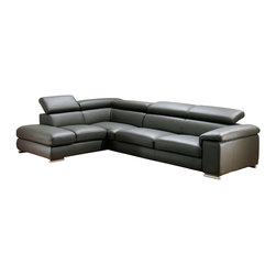 ESF - ESF Angel Dark Grey Full Top Grain Italian Leather Sectional Sofa - The ESF Angel sectional sofa will add a stylish modern look that works well with any decor. This sectional comes fully upholstered in a beautiful dark grey top grain Italian leather. High density foam is placed within the cushions for added comfort. Only solid wood products were used when crafting the frame making the sofa a very durable piece. The sectional features adjustable headrests for that extra touch of relaxation.