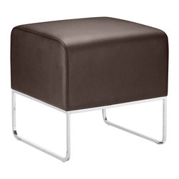 Zuo Modern - Plush Ottoman Espresso - This versatile ottoman is contemporary and compact, upholstered in leatherette that stands up to high traffic. Understated chromed steel tube legs complete the Plush ottoman.