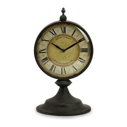 """IMAX - Christopher Clock - antiqued round metal table top clock Item Dimensions: (14.25""""h x 7.5""""w x 8"""")"""