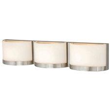 Modern Bathroom Vanity Lighting Arcs Satin Nickel 3 Light Vanity
