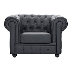 Modway - Modway EEI-699 Chesterfield Armchair in Black - There is something very recognizable about the Chesterfield Armchair. While fashioned with a tufted back, and large rounded arms, the most distinctive aspect is arguably the deep buttons. Their careful positioning throughout helps portray both an aristocratic and settled feel at the same time. First named in 1900 after the Earl of Chesterfield who commissioned it, recognize the ability to join individual elements as you completely inspire your room.