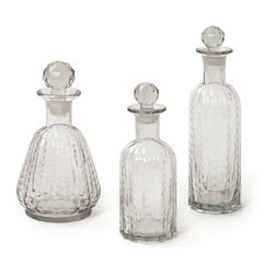 Go Home - Go Home Set of Three Trinity Decanters - Exquisitely designed Set of Three Trinity Decanters can store your spirits in a simply aesthetic way to give them an affluent presentation. Each decanter in this country chic set feature different design and shapes to make your collection even more classic. All the three are corked with ripple motif to provide an exquisite finish.