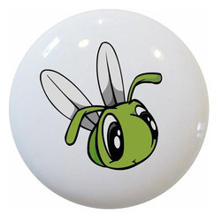 Carolina Hardware and Decor, LLC - Baby Fly Big Eyes Ceramic Knob - 1 1/2 inch white ceramic knob with one inch mounting hardware included.  Great as a cabinet, drawer, or furniture knob.  Adds a nice finishing touch to any room!
