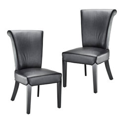 Safavieh - Safavieh Kiera Side Chair X-2TES-A8054RCM Set of 2 - The Kiera side chair reworks a classic, slightly feminine, dining form by upholstering it in contemporary black leather. Black finish on the legs completes the look.