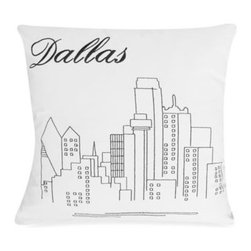 """Rjs Trading Int'l Ltd Dba - Passport 18"""" Square Postcard Toss Pillow - Dallas - Add to the world tour of the Passport bedding with this decorative toss pillow featuring black stitch embroidery on a white background. The postcard motif with an iconic landmark makes you wish you were there."""