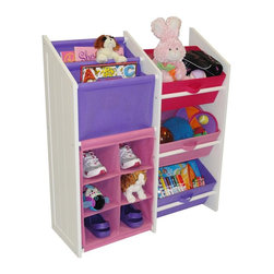 "RiverRidge - Kids Super Storage w 3 Pastel Bins, Book Holder & 6 Slot Cubby - Two slot slanted book/magazine holder also holds coloring books, toys, stuffed animals... Large capacity bins for storing toys, games, art/craft supplies, clothes and more!. Each cubby slot is 6.5""w x 5.5""h. Material: Painted MDF Wood Composite, Non-Woven Poly Fabric . Color: White. 11 in. L x 29.625 in. W x 35 in. H (26 lbs)This classic design storage cabinet includes 3 folding storage bins,  a two slot slanted book/magazine holder and  a 6 slot cubby to hold shoes, toys, stuffed animals, and more. Use it in the kids room, play room, family room, entryway or bathroom."