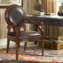 Madison Park - Madison Park Covington Accent Chair - Add a touch of elegance to any room with the Covington hand-carved accent chair from Madison Park. This chair is crafted with a nailhead trim throughout, a rich leather seat and back upholstery and a walnut wood finish.
