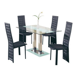 Global Furniture USA - D2108DT-FR + D027DC-BL Clear Glass & Black Leatherette Five Piece Dining Set - This contemporary dining room set is a great addition to any modern home decor. This set features an interesting charm with unique styled chairs and a contrasting glass table. The elegant look of this set can go with just about any decor or setting. The table in this set features a center strip of frosted glass that makes it different from most glass tables. A matching frosted glass base sits at the bottom of this piece. The chairs feature a grid pattern on the back and come upholstered in a black PVC. The dining set includes the dining table and four chairs only.