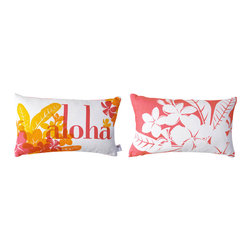 Kaypee Soh - Aloha Lumbar Pillow - Honeysuckle - Aloha - Meaning both hello and goodbye as well as love and affection, Aloha is the way of the islands.