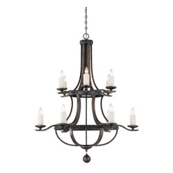 Savoy House - 12 Light 2 Tier Chandelier Alsace Collection - Savoy House 1-9532-12 Alsace 12 Light 2 Tier ChandelierBold in scale and commanding in presence, this twelve light, two tier chandelier features riveted iron details, soft white beeswax candle covers and a Reclaimed Wood finish. Hailing from the Alsace collection, this piece is inspired by the wine barrels popularly used in French vineyards and speaks of a chic European sophistication that will bring a touch of class to any room.Alsace is a sophisticated collection of chandeliers inspired by the wine barrels popularly used in French vineyards.�Bold in scale and commanding in presence, Alsace has riveted iron details, soft white beeswax candle covers and a Reclaimed Wood finish. These chandeliers are upscale and relaxed,�making them the perfect complement for living rooms, gourmet kitchens and wine rooms.Savoy House 1-9532-12 Features: