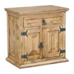 Million Dollar Rustic - Nightstand w Two Doors - One drawer. Compact storage. Warranty: One year. Made from white pine. 23 in. W x 15 in. D x 23 in. H (15 lbs.)