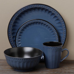 Tabletops Unlimited - Tabletop Unlimited Beads Blue 16-piece Dinnerware Set - Add a stylish touch to your table with this 16-piece dinnerware set from Tabletop Unlimited. A porcelain construction with a blue design highlights this set.