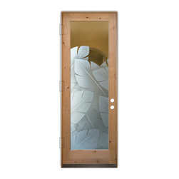 Sans Soucie Art Glass (door frame material T.M. Cobb) - Glass Front Entry Door Sans Soucie Art Glass Banana Leaves 3D - Sans Soucie Art Glass Front Door with Sandblast Etched Glass Design. Get the privacy you need without blocking the light, thru beautiful works of etched glass art by Sans Soucie!  This glass is semi-private.  (Photo is view from outside the home or building.)  Door material will be unfinished, ready for paint or stain.  Bronze Sill, Sweep and Hinges. Available in other sizes, swing directions and door materials.  Dual Pane Tempered Safety Glass.  Cleaning is the same as regular clear glass. Use glass cleaner and a soft cloth.