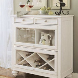 """American Drew 920-589 Bookcase / Bar Camden - Light - Bookcase / Bar - American Drew Camden - Light Collection 920-589Features:The finish on this collection is a CREAM color. (NOT White)2 DrawersGlass Fold Up Door W/ Wine Glass Storage On LsfOpen Compartments On RsfGlass Fold Up Door W/ Removable Wine Rack On Bottom2 DrawersThis Price Includes:Bookcase / BarItem:Weight:Dimensions:Bookcase / Bar188 lbs38"""" W X 18"""" D X 42"""" HManufacturer's Materials:Hardwood solidsmapleash veneers and select hardwoods"""