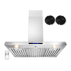 GOLDEN VANTAGE - GV 36-Inch Stainless Steel Wall Range Hood W/Carbon Filter For Ductless Option - Our Contemporary Europe design range hoods capture the most pollutants, grease, fumes, cooking odors in a quiet way but maintain a strong CFM From 300-900 depends on the style or model you choose. GV products not only provide top notch quality of material, we also offer led lighting, quiet chamber blower, adjustable telescopic chimney. All of our range hoods can convert to ventless/ductless options if outside exhaust not permitted.