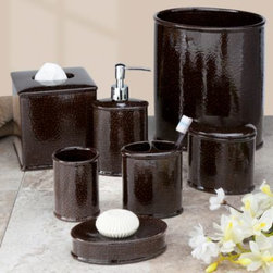 """Creative Bath Products - Crackle Bath Waste Basket - This rich chocolate brown bath ensemble with its sleek crackle design will add a sophisticated finishing touch to any bathroom. Waste basket measures 8 1/2"""" x 11 3/4"""". Constructed of durable ceramic. Pieces sold separately."""