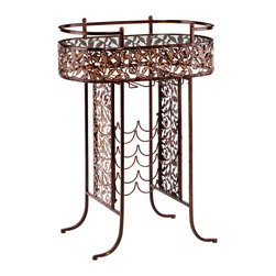 SEI - Ventura Wine Table - Add this decorative wine table to your home for a beautiful display of your wine and accessories along with convenient storage. The vineyard-inspired leaves are sure to win the hearts of wine connoisseur and novice alike. The metal frame of this table features an antique oil-rubbed bronze finish and gorgeous, laser-cut leaves. This practical piece provides storage for up to nine bottles of wine and has two hanging racks for glasses. It also features an oval glass tabletop which is ideal for serving or displaying ornamental glassware. This wine table is perfect for special occasions or daily use. Add it to the dining room, kitchen, or family roomwherever you unwind with a glass of wine.