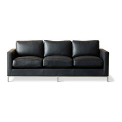 Gus Modern - Gus Modern Trudeau Sofa, Essentials Leather Black - It doesn't get more stylish that this — or more simple. The three-over-three sofa evokes uncomplicated cool and total comfort in your favorite modern setting, whether you choose leather or fabric upholstery.