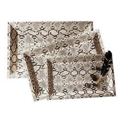 Zhush - Python Tray, Cream/Black, Large - Faux snakeskin trays will enhance any decor with sophisticated style.