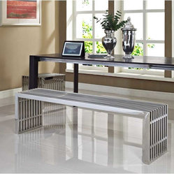 Modway - Gridiron Benches Set of 2 in Silver - Silver rivers of laughter race back and forth in this high energy modern piece. Gridiron's sleek stainless steel bench contains a message of transformation and metamorphosis. Exuberance abounds as the strategic placement of this piece will radiate a happy atmosphere.