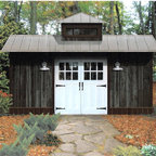 The Classic - This shed looks like it belongs in rolling bluegrass in Kentucky. I like the barn feeling and the weathered exterior. It looks like it's been there forever.