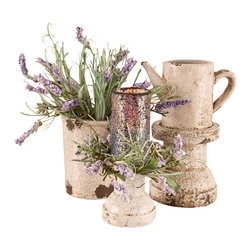 Lavender Earthenware Candle Centerpiece - Bring a little bit of the Spring indoors for the winter with our Lavender Garden Shabby Chic Centerpiece arrangement. Though we have categorized this unique candle gift set for Living room use it most certainly would be a fantastic accent in many a kitchen. You can be sure that this Lavender Garden with its elegant Lavender flower candle will not only brighten the room - it will brighten your mood when you need it the most. The set has an old-fashioned earthenware look that will look absolutely gorgeous on any table that you decide to set it on.