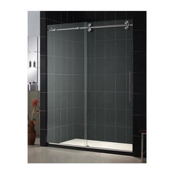 Dreamline - Enigma Frameless Sliding Shower Door (Polished Stainless Steel) - Color: Polished Stainless Steel. Includes anti-splash threshold to prevent water spillage. Protective anti-lime scale coating. Fully advanced frameless design. Effortless single sliding door operation. Four large wheel assemblies on stainless steel track. Reversible for left or right door opening installation . Made from 0.5 in. tempered clear glass and aluminum. 56 - 60 in. W x 79 in. H. Warranty. Technical Drawing. Installation Manual. Marketing BrochureAdd the amazing look of a heavy glass door to your shower project. The Enigma collections of shower doors and shower enclosure offers unique design, flawless function and exceptional value. The Enigma collection of shower doors will be the centerpiece of the bathroom of your dreams and trade.