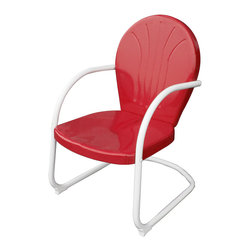 Buffalo Tools - AmeriHome Retro Style Metal Lawn Chair - Red - Retro Style Metal Lawn Chair - Red by AmeriHome Sit back and relax on the AmeriHome Retro Design Metal Lawn Chair in Red. As seen in back yards since the 50s, our Retro Metal Lawn Chair is a faithful reproduction of the timeless original design. The classic style looks great on the front porch, back patio, backyard or pool deck, and brings back memories of simpler less hectic days.  The AmeriHome Retro Design Metal Lawn Chair in Blue has a seat height of 15.5 inches from the ground, a generously sized seat of 19 inches wide by 19 inches deep, and has a 225 lbs total max weight capacity. The powder coat finish resists rust and will help keep the Retro Metal Lawn Chair looking nice season after season. Retro styled stamp metal, popular 1950s classic design For indoor and outdoor use, use on the patio or by the pool Powder coat finish resists rust Seat size: 19 in. W x 19 in. D, seat height from floor: 15.5 in., max back height: 34.5 in.  Overall size measures 22.5 in. L x 27 in W x 35 in H Assembly required
