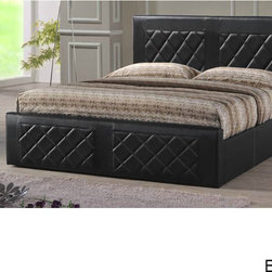 None - Tufted Leatherette Upholstered Bed - Lend a modern look to your master suite or guest bedroom with the this black or brown leatherette-upholstered bed. The sleek lines are complemented by luxurious diamond tufting on the headboard and footboard giving this bed a contemporary look.