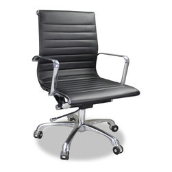 JR Home Products Ltd. - Black Ribbed Office Chair - The Ribbed Office Chair has a timeless design that's sure to impress. Constructed with a chrome-coated heavy gauge steel frame and foam-padded ribbed leather seat and back, this chair conforms to your body like a glove. It swivels 360 degrees, complements any office decor, and supports your body throughout your workday.