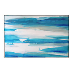 Abstract Painting Large Original -- Minimalist - Blues, Acrylic on Canvas - Large Abstract Painting - Minimalist - Blues