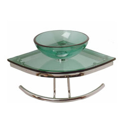 Renovators Supply - Corner Sinks Green Glass/Stainless Zep Corner Sink 18 1/4'' Proj | 12841 - Renovators Supply Corner Sinks. Zephyr Corner Glass Sink: A mini glass pedestal sink sized for a child or a small space. Corner out is 16 1/4 inch x 18 1/4 inch projection x distance to towel bar 5 1/4 inch Bowl 11 3/4 inch diameter x 4 inch deep. Accepts single hole faucet, not included. Check out our huge selection of faucets, does not accept waterfall faucets.