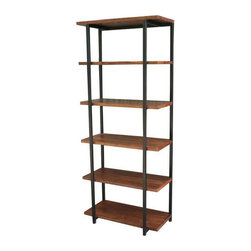 San Miguel Iron Bookshelf - This is the San Miguel Iron Bookshelf. Made of 100% hand forged iron and a solid rosewood top. This bookshelf would be right at home in a dorm, study or home office. Sophisticated yet durable. The San Miguel furniture collection is exclusive to Tres Amigos and considered to be one of our crowning jewels. As soon as you get this beauty home you will understand why. 5 shelves to store books and collectibles and open from All sides make this bookcase perfect for any space.
