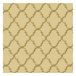 Gold & Tan Embroidered Quatrefoil Fabric - Classic quatrefoil trellis embroidered in silver on palest gray linen-like ground. Every room can use a little glitz and glamour!Recover your chair. Upholster a wall. Create a framed piece of art. Sew your own home accent. Whatever your decorating project, Loom's gorgeous, designer fabrics by the yard are up to the challenge!