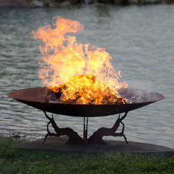 Earth and Sky Gas Firepit - An Asian inspired firepit with an intricate base and simple top design.  Hand crafted by an artist in the Ohio.