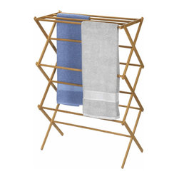 Bamboo Folding Clothes Drying Rack by Household Essentials - Hanging up delicate clothing is necessary for most people, and this cute bamboo drying rack will do the trick for your unmentionables.