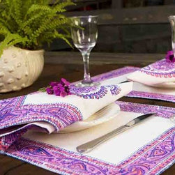 French Country Bedding - Attiser placemats are unique designer pieces, handmade and utterly handsome.(India Inspired block prints) Our fine linen placemats are a most stunning addition to any table or sideboard and are the essential accessory for entertaining or simply making your own dining room more beautiful. Hand Block Printed from Attiser