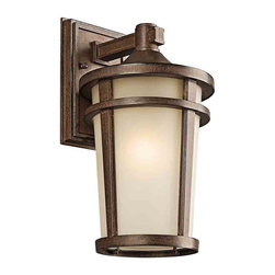 Kichler Lighting 49072BSTFL Atwood Brown Stone Outdoor Wall Sconce - Kichler Lighting 49072BSTFL Atwood Brown Stone Outdoor Wall Sconce*Number of Bulbs: 1*Bulb Type: 18W GU24*Collection: Atwood*Glass/Shade: Satin Etched*Weight: 5.5