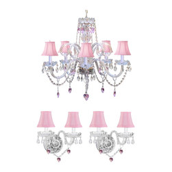 3pc Lighting Set - Crystal Chandelier and 2 Wall Sconces with Pink Crystal Heart - These beautiful fixtures are trimmed with Empress Crystal(TM). Items must be hardwired. Professional installation is recommended. Chandelier requires (5) 40 watt bulbs. Sconce requires (2) 40 watt bulbs - not included.
