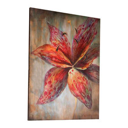 Uttermost Splash Of Spring Floral Art - Frameless stretched canvas. The ever so popular lily is depicted here in this hand painted artwork on canvas. The canvas has been stretched and attached to wooden stretching bars. Due to the handcrafted nature of this artwork, each piece may have subtle differences.