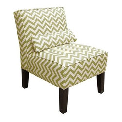 Chartreuse ZigZag Armless Slipper Chair - I'm diggin' the chartreuse chevron.