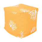 Majestic Home - Outdoor Yellow Coral Small Cube - This update on the beanbag functions as a footstool, side table or comfy seat — indoors or out, with UV protection built into the fabric. The coral print is perfect for your beach house — or wherever your decor celebrates the sea.