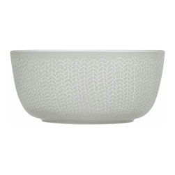 Iittala - Sarjaton Bowl Letti, Pearl Gray - Serve up easy elegance at your table with this generous bowl, imported from Finland. Its rustic pattern balances the sophisticated pearl gray color for a down-to-earth dining style.