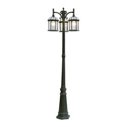 """Trans Globe Lighting - Trans Globe Lighting 4189 RT Botanica 3 Lantern Lamp Post - Atrium garden outdoor landscape Lighting in a 3 lantern lamp post that lights up outdoor seating areas and landscape. Over 7 feet tall at 79"""" high."""