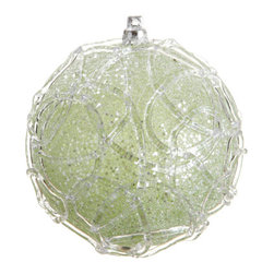 Silk Plants Direct - Silk Plants Direct Glitter Swirl Pattern Ball Ornament (Pack of 4) - Green - Silk Plants Direct specializes in manufacturing, design and supply of the most life-like, premium quality artificial plants, trees, flowers, arrangements, topiaries and containers for home, office and commercial use. Our Glitter Swirl Pattern Ball Ornament includes the following: